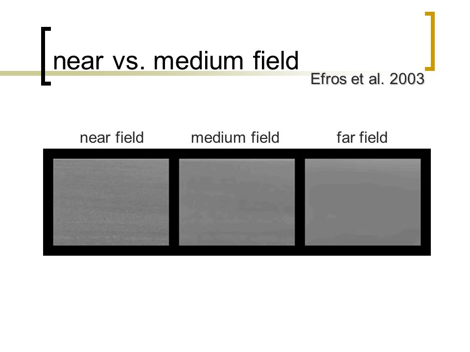 near vs. medium field near fieldmedium fieldfar field Efros et al. 2003
