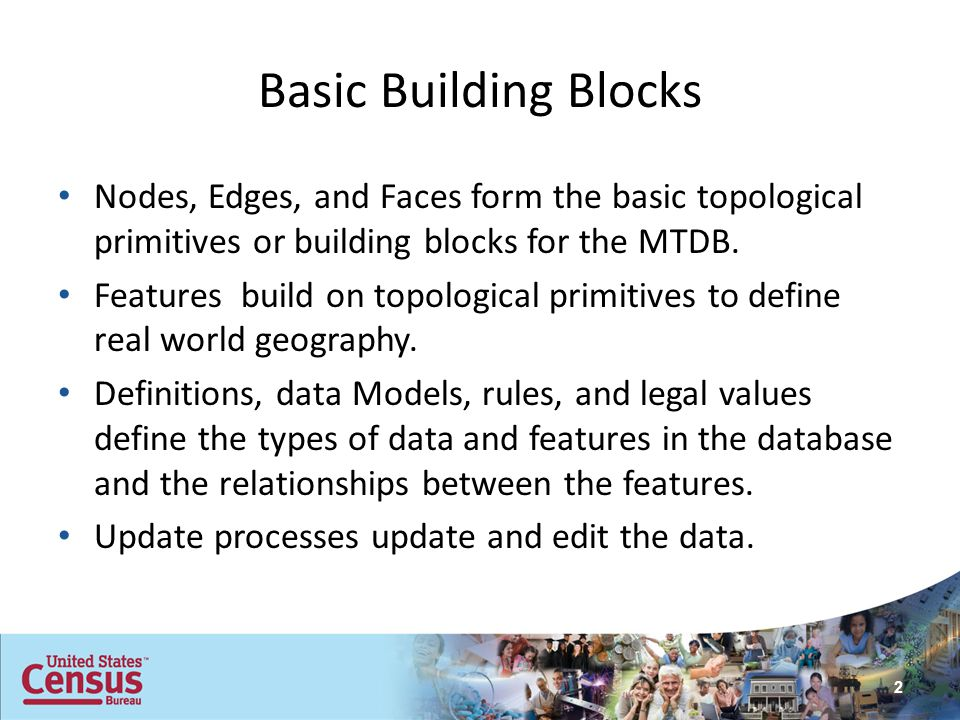 Basic Building Blocks Nodes, Edges, and Faces form the basic topological primitives or building blocks for the MTDB. Features build on topological pri