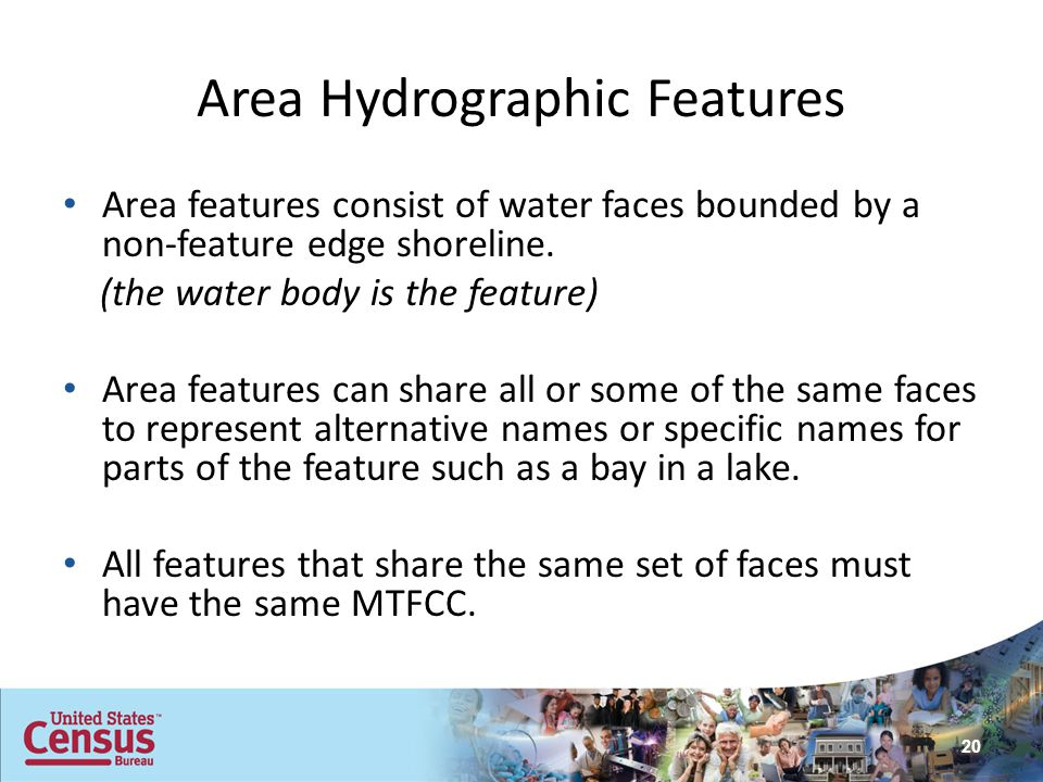 Area Hydrographic Features Area features consist of water faces bounded by a non-feature edge shoreline. (the water body is the feature) Area features