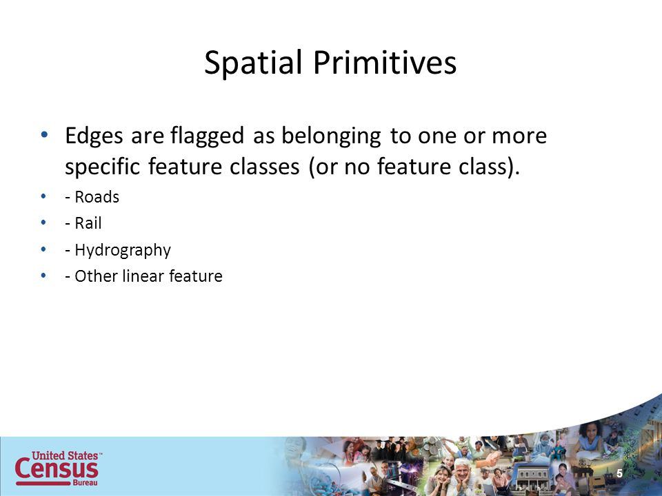Spatial Primitives Edges are flagged as belonging to one or more specific feature classes (or no feature class). - Roads - Rail - Hydrography - Other
