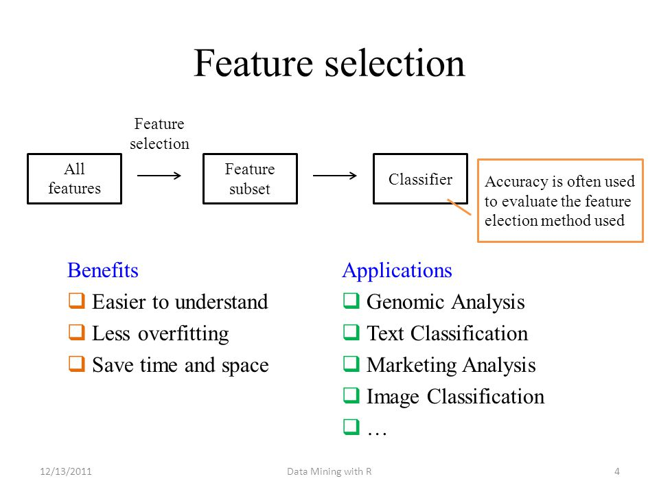 Feature selection 4 Feature selection Benefits  Easier to understand  Less overfitting  Save time and space Data Mining with R12/13/2011 All featur