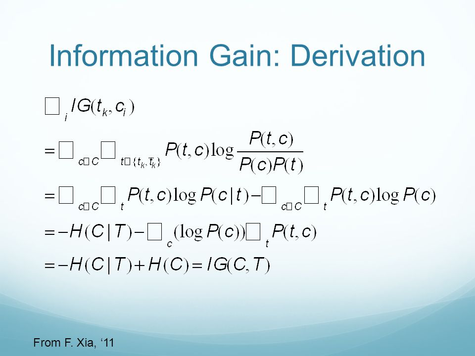 Information Gain: Derivation From F. Xia, '11
