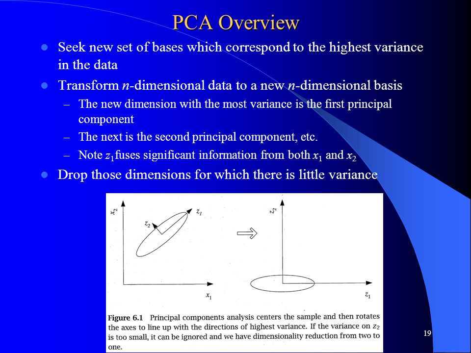 PCA Overview Seek new set of bases which correspond to the highest variance in the data Transform n-dimensional data to a new n-dimensional basis – The new dimension with the most variance is the first principal component – The next is the second principal component, etc.