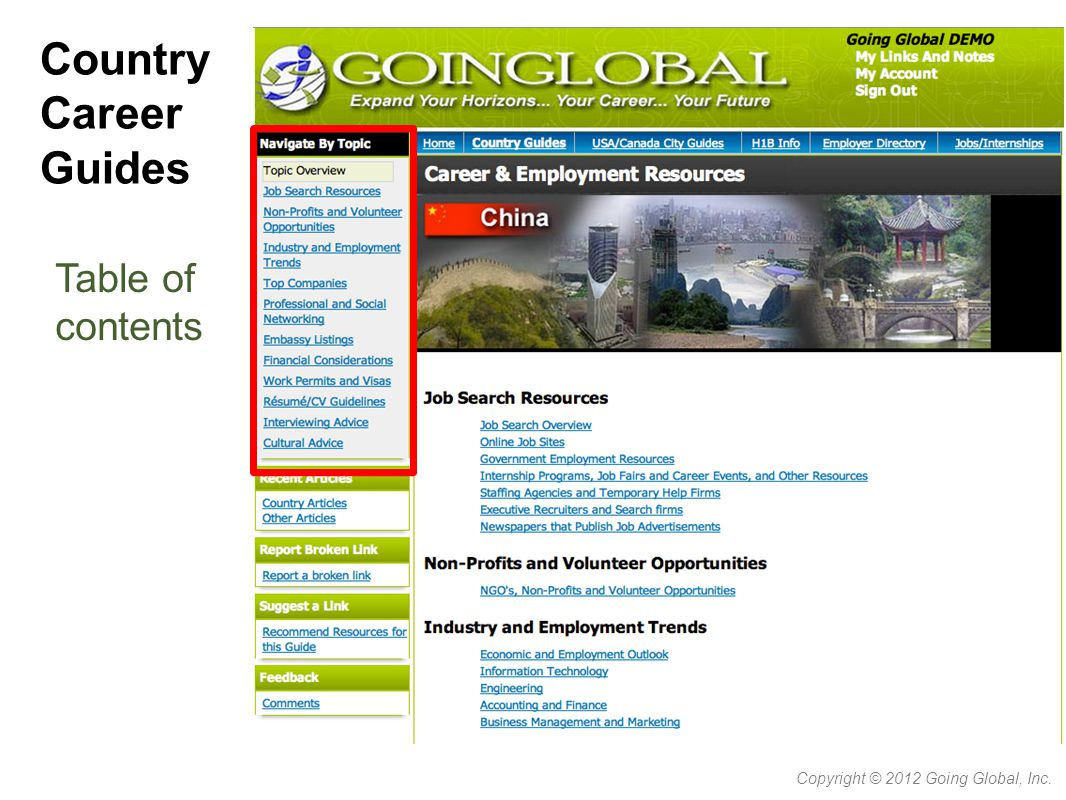 Country Career Guides Table of contents Copyright © 2012 Going Global, Inc.
