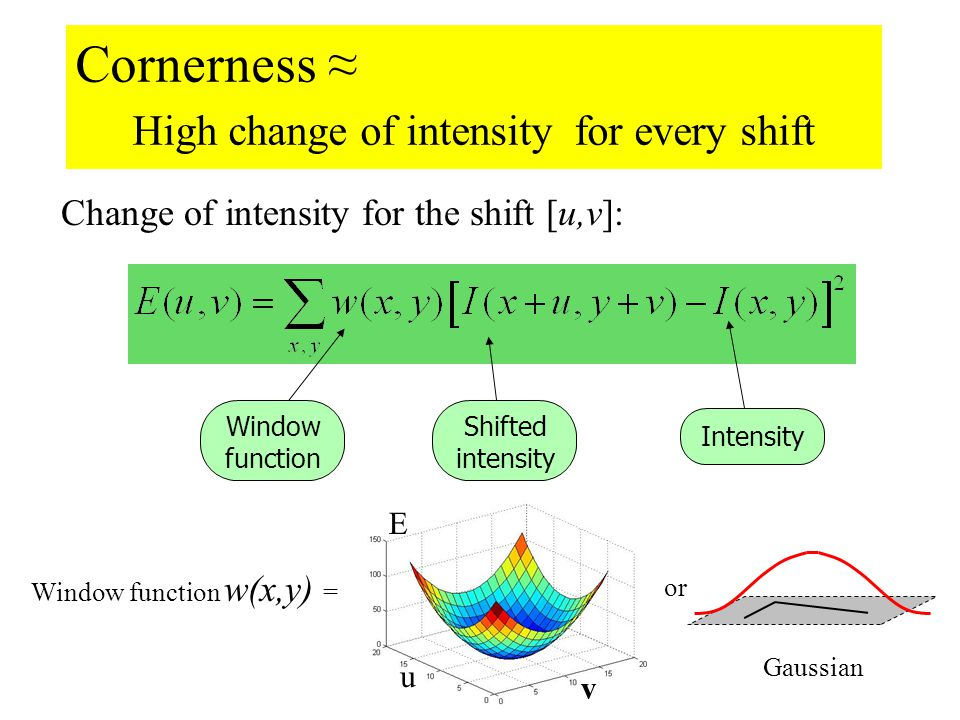 Harris Detector Cont. Change of intensity for the shift [u,v]: Intensity Shifted intensity Window function or Window function w(x,y) = Gaussian1 in wi
