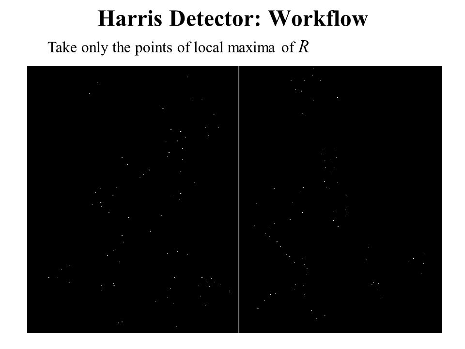 Harris Detector: Workflow Take only the points of local maxima of R