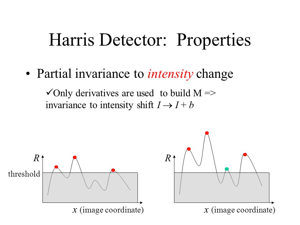 Harris Detector: Properties Partial invariance to intensity change Only derivatives are used to build M => invariance to intensity shift I  I + b R x