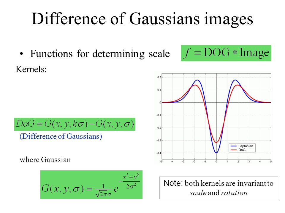 Difference of Gaussians images Functions for determining scale Kernels: where Gaussian Note: both kernels are invariant to scale and rotation (Differe