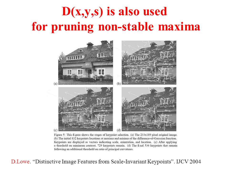 "D(x,y,s) is also used for pruning non-stable maxima D.Lowe. ""Distinctive Image Features from Scale-Invariant Keypoints"". IJCV 2004"