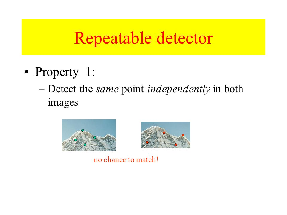 Property 1: –Detect the same point independently in both images no chance to match! Repeatable detector