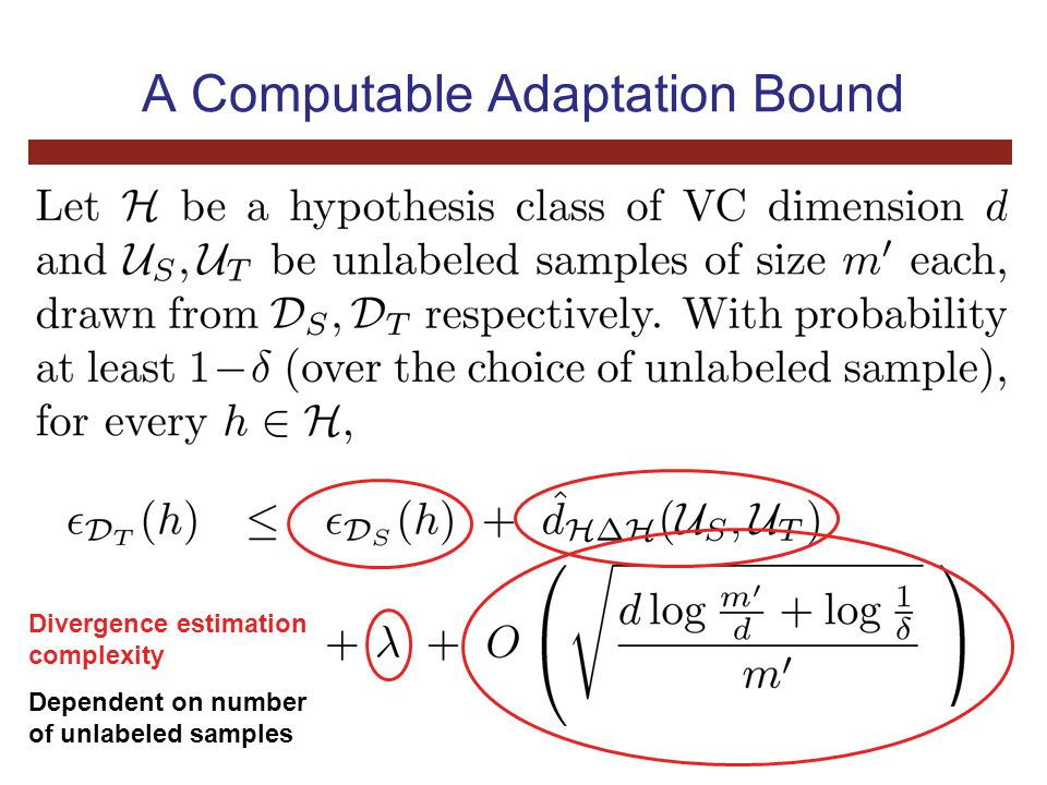 A Computable Adaptation Bound Divergence estimation complexity Dependent on number of unlabeled samples