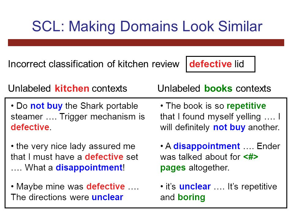 SCL: Making Domains Look Similar defective lid Incorrect classification of kitchen review Do not buy the Shark portable steamer ….