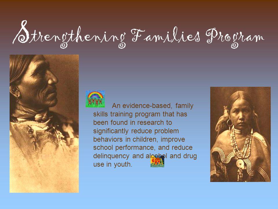 SFP Teaches Resiliency Skills  Speaking and Listening  Planning & Organizing (family meetings)  Problem Solving  Peer Resistance  Restoring Self-Esteem  Identifying Feelings, Taking Criticism  Managing Feelings, Coping with Anger