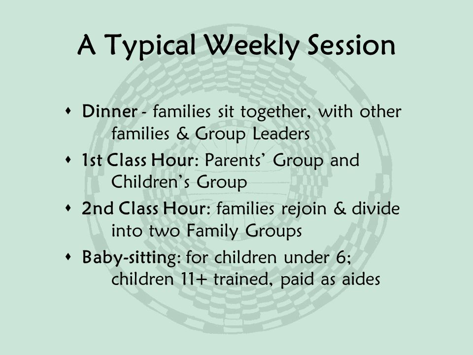 A Typical Weekly Session  Dinner - families sit together, with other families & Group Leaders  1st Class Hour: Parents' Group and Children's Group  2nd Class Hour: families rejoin & divide into two Family Groups  Baby-sitting: for children under 6; children 11+ trained, paid as aides