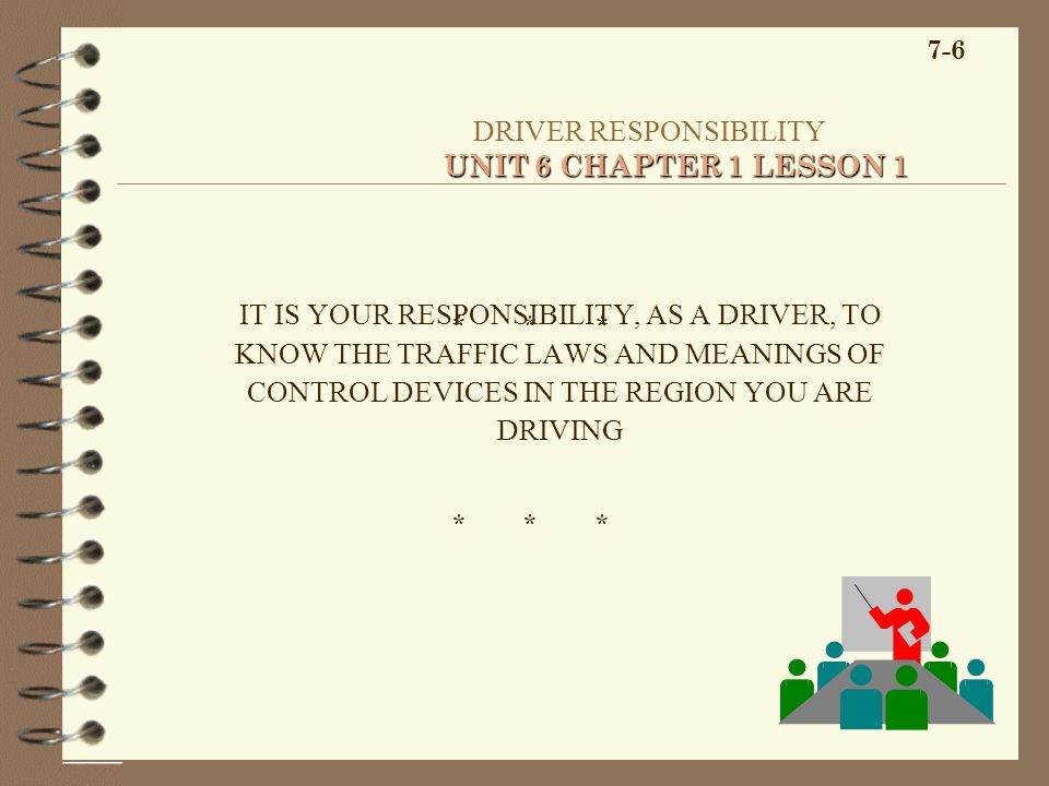7-6 UNIT 6 CHAPTER 1 LESSON 1 DRIVER RESPONSIBILITY UNIT 6 CHAPTER 1 LESSON 1 IT IS YOUR RESPONSIBILITY, AS A DRIVER, TO KNOW THE TRAFFIC LAWS AND MEA