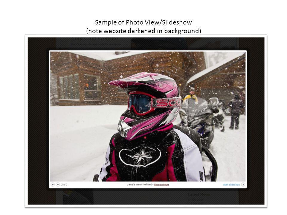 Sample of Photo View/Slideshow (note website darkened in background)