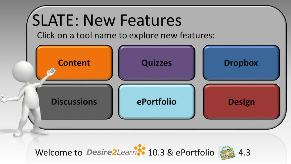 New Features: Content Content Quizzes DropboxDiscussions The Content tool includes exciting new features making it easier for instructors to add content to courses and students to view content inline without downloading.