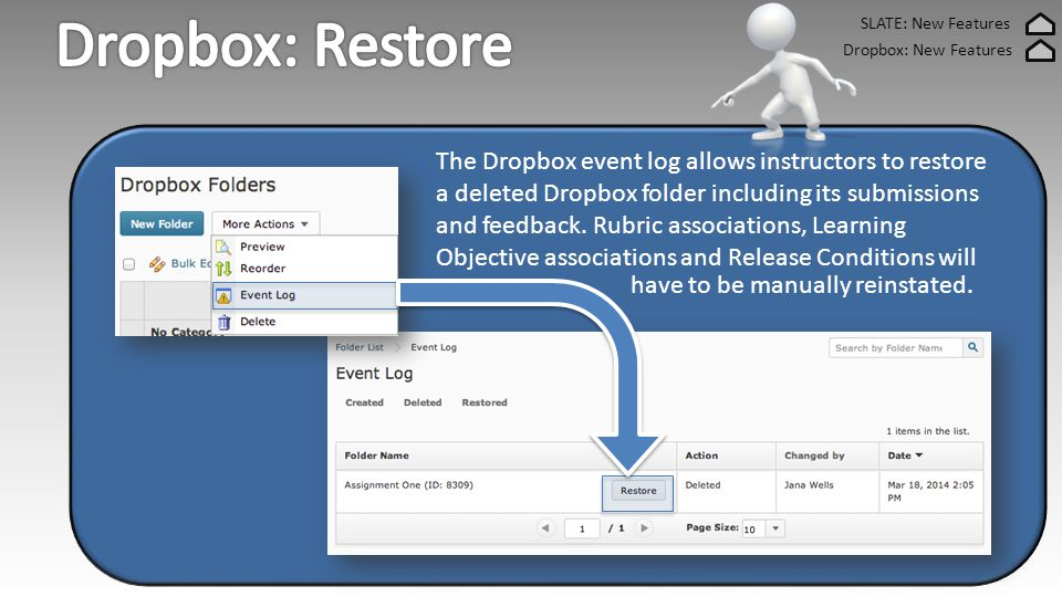 SLATE: New Features Dropbox: New Features The Dropbox event log allows instructors to restore a deleted Dropbox folder including its submissions and feedback.