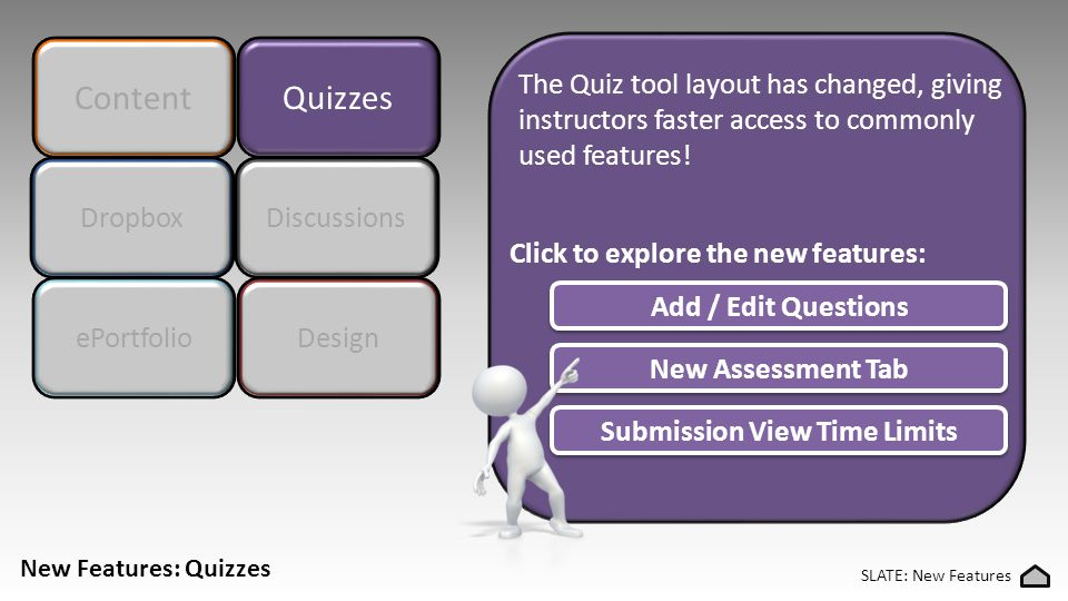 Content Quizzes The Quiz tool layout has changed, giving instructors faster access to commonly used features.