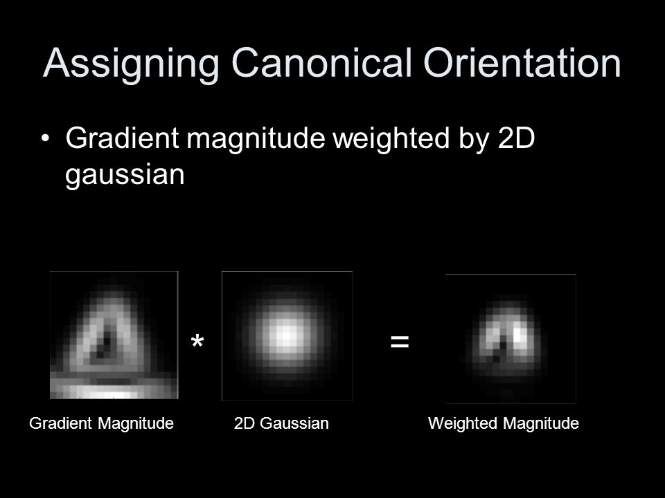Assigning Canonical Orientation Accumulate in histogram based on orientation Histogram has 36 bins with 10° increments Weighted Magnitude Gradient Orientation Sum of Weighted Magnitudes