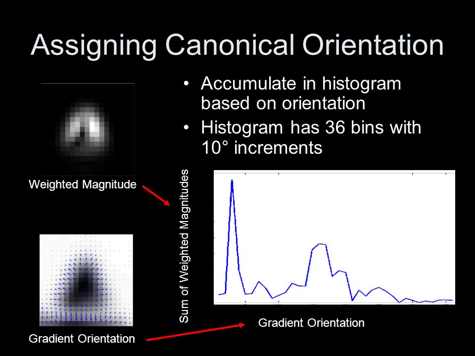 Assigning Canonical Orientation Identify peak and assign orientation and sum of magnitude to key point Weighted Magnitude Gradient Orientation Sum of Weighted Magnitudes Peak *