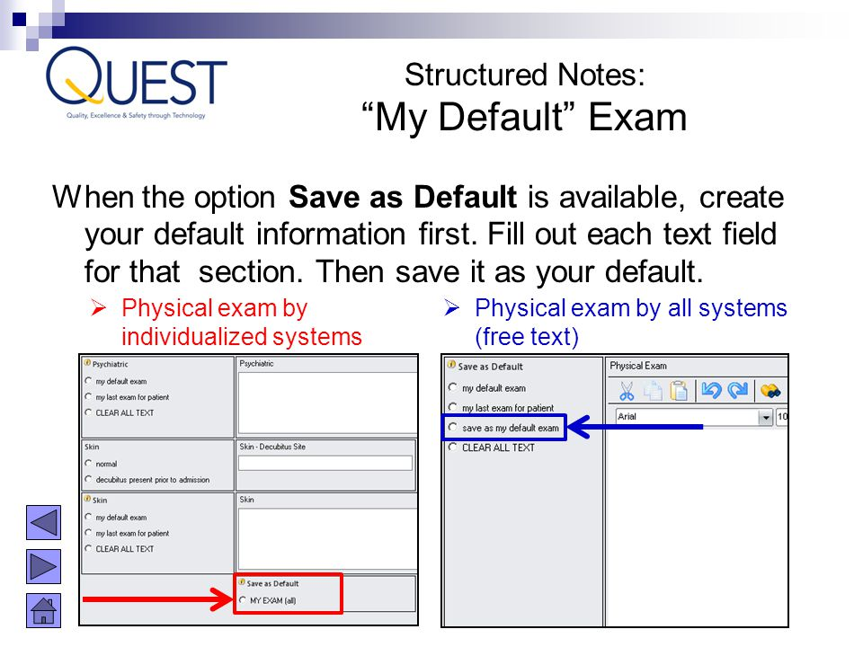 When the option Save as Default is available, create your default information first. Fill out each text field for that section. Then save it as your d