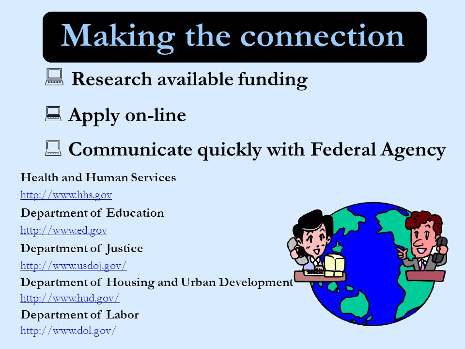 Funding Priorities and Opportunities http://www.fbci.gov Homelessness/housing Elders in need Substance abuse At-risk youth Prisoners and their children Welfare to work