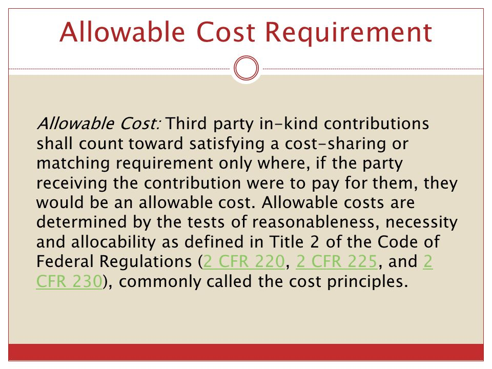 Cost Principle Citations 2 CFR Part 220  Cost Principles for Educational Institutions 2 CFR Part 225  Cost Principles for State, Local, and Indian Tribal Governments 2 CFR Part 230  Cost Principles for Non-Profit (Commercial) Organizations 48 CFR Subpart 31.2  Cost Principles for For-Profit Organizations