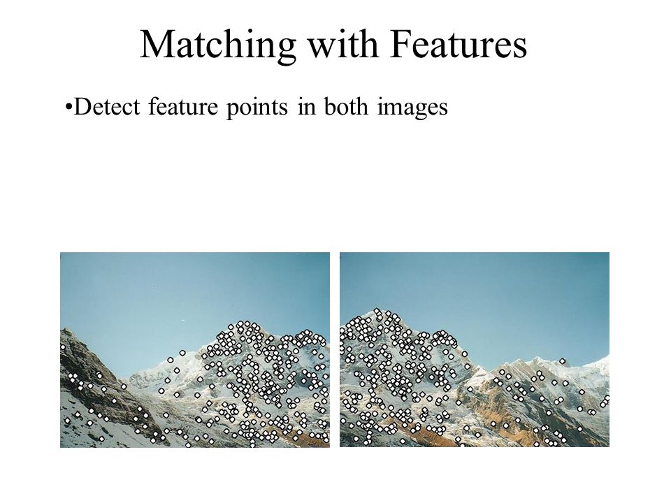 Matching with Features Detect feature points in both images