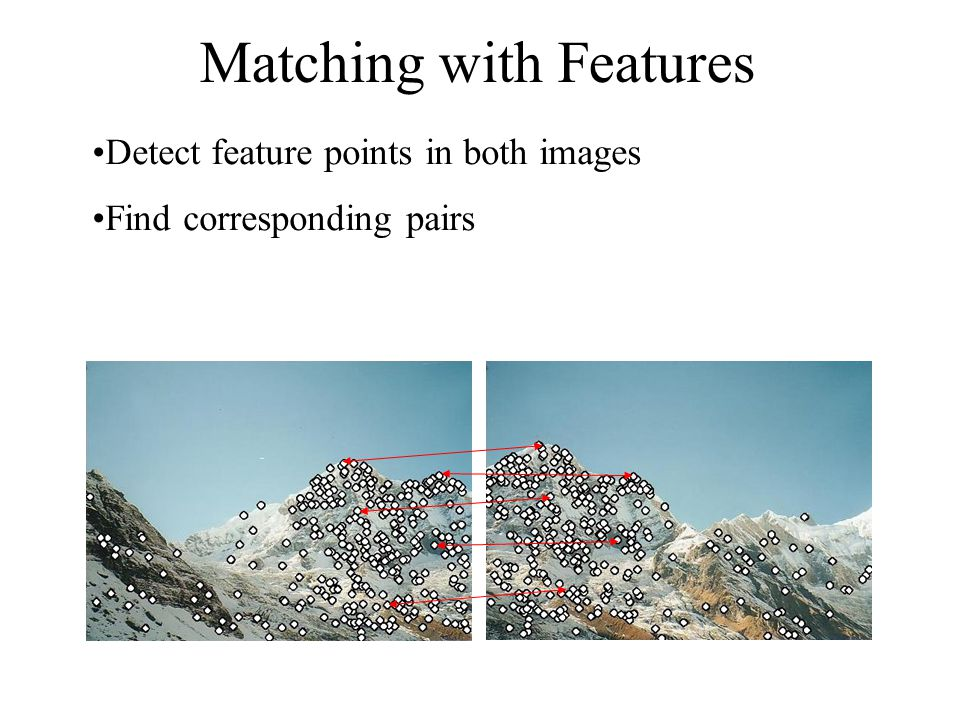 Matching with Features Detect feature points in both images Find corresponding pairs