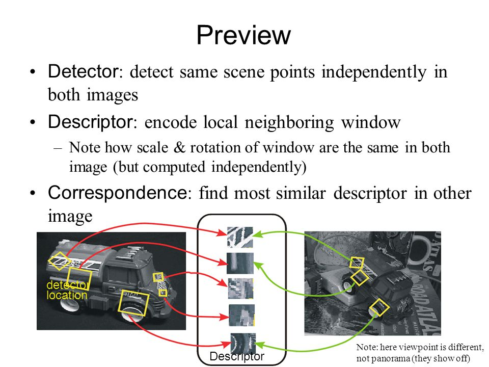 Preview Descriptor detector location Note: here viewpoint is different, not panorama (they show off) Detector : detect same scene points independently