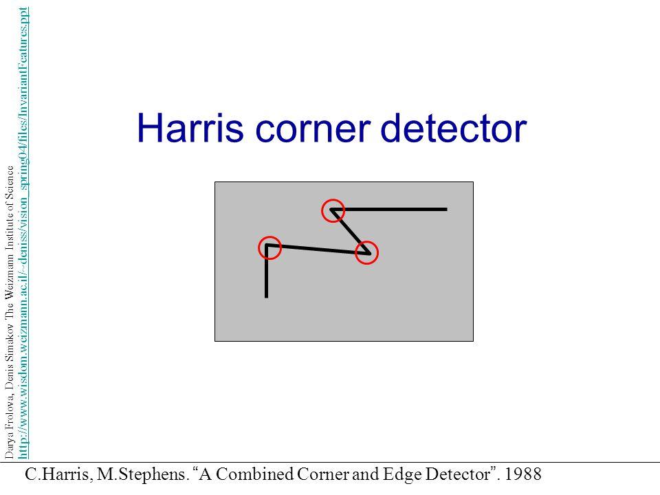 "Harris corner detector C.Harris, M.Stephens. "" A Combined Corner and Edge Detector "". 1988 Darya Frolova, Denis Simakov The Weizmann Institute of Scie"
