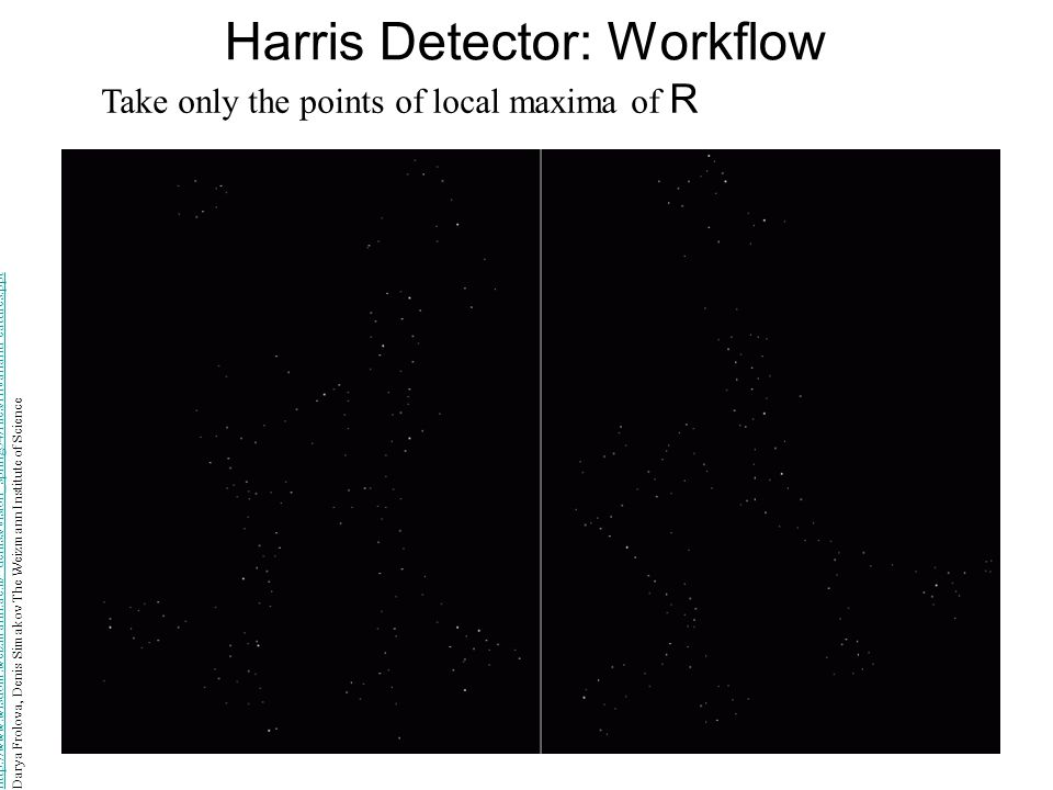 Harris Detector: Workflow Take only the points of local maxima of R http://www.wisdom.weizmann.ac.il/~deniss/vision_spring04/files/InvariantFeatures.p