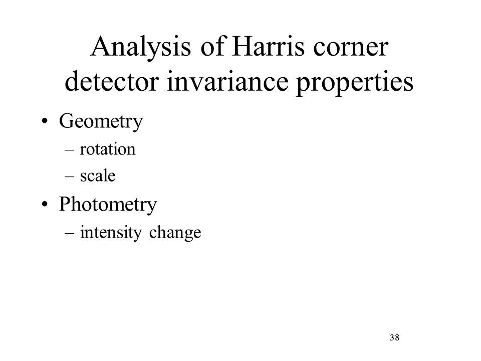 38 Analysis of Harris corner detector invariance properties Geometry –rotation –scale Photometry –intensity change 38