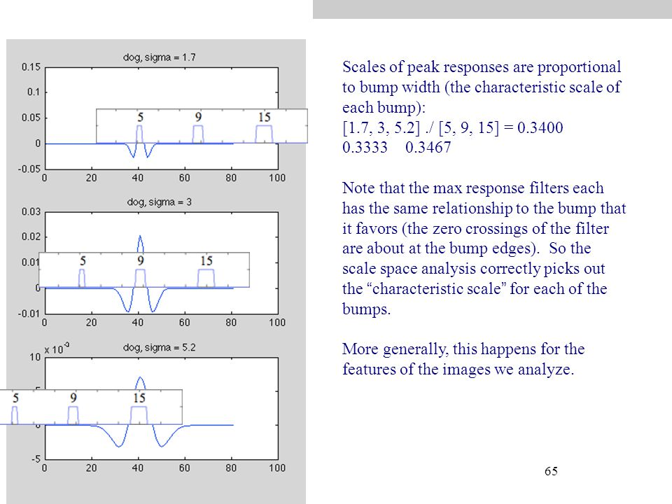 65 Scales of peak responses are proportional to bump width (the characteristic scale of each bump): [1.7, 3, 5.2]./ [5, 9, 15] = 0.3400 0.3333 0.3467