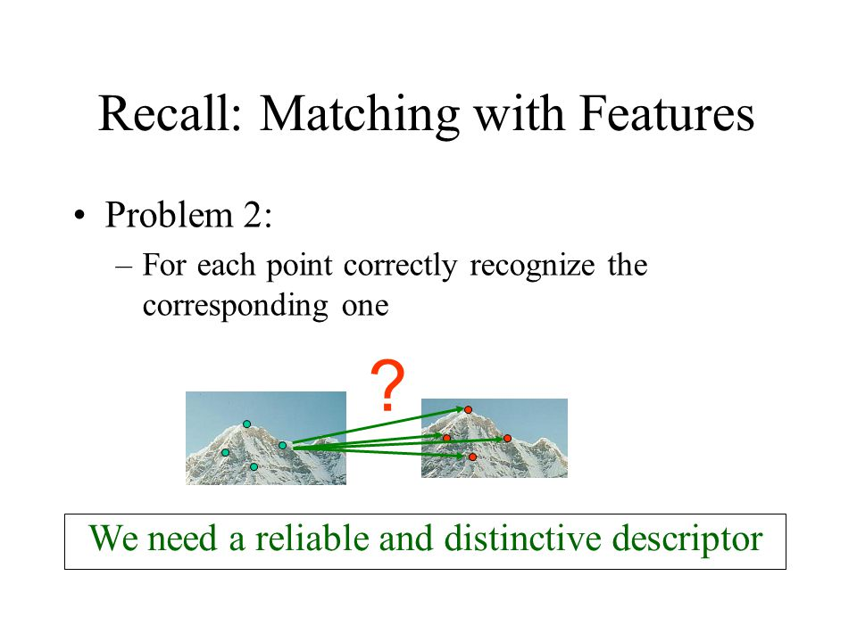 Recall: Matching with Features Problem 2: –For each point correctly recognize the corresponding one ? We need a reliable and distinctive descriptor
