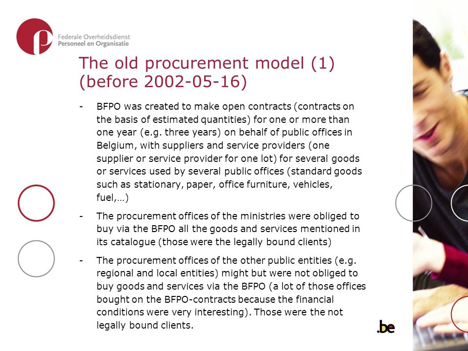 The old procurement model (1) (before 2002-05-16) -BFPO was created to make open contracts (contracts on the basis of estimated quantities) for one or
