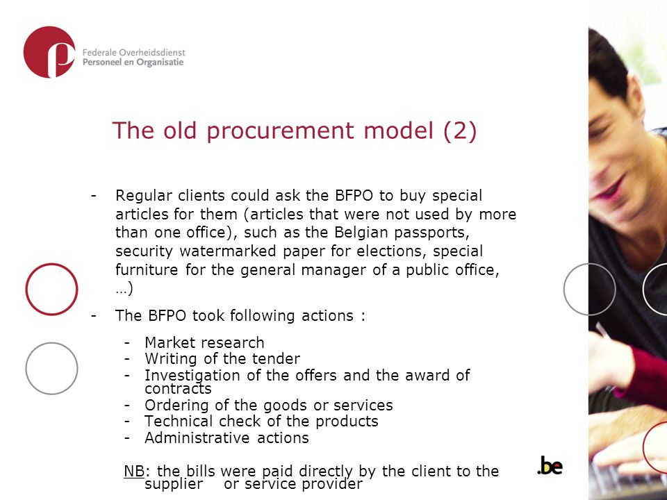 The old procurement model (2) -Regular clients could ask the BFPO to buy special articles for them (articles that were not used by more than one offic