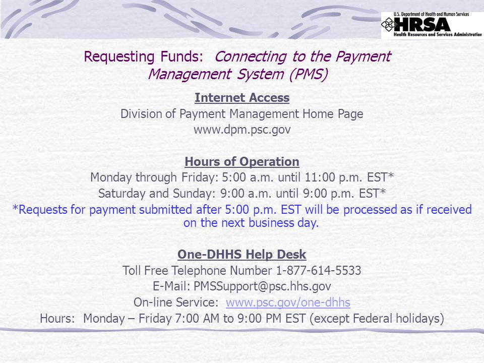 System Access and Account Inquiries Payment Management System