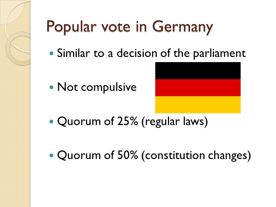 Popular vote in Germany Similar to a decision of the parliament Not compulsive Quorum of 25% (regular laws) Quorum of 50% (constitution changes)