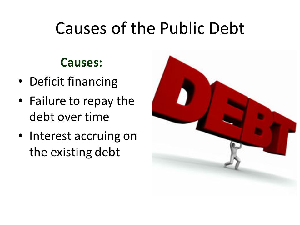 Causes of the Public Debt Causes: Deficit financing Failure to repay the debt over time Interest accruing on the existing debt