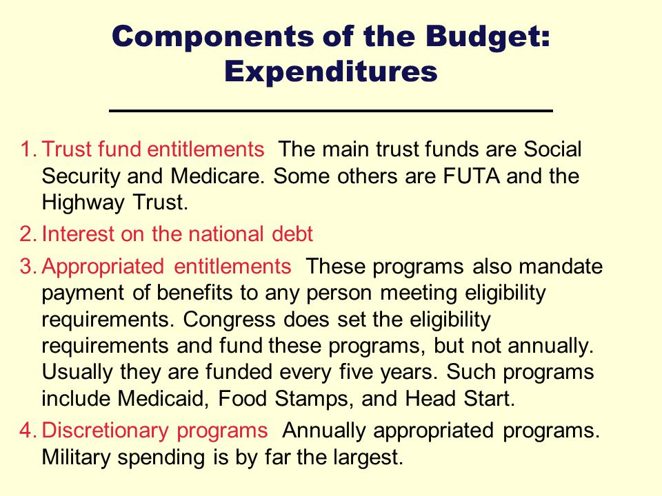Components of the Budget: Expenditures 1.Trust fund entitlements The main trust funds are Social Security and Medicare.