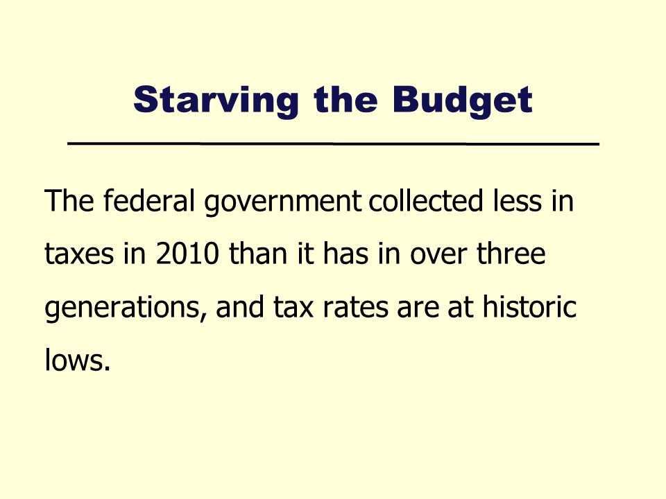 Starving the Budget The federal government collected less in taxes in 2010 than it has in over three generations, and tax rates are at historic lows.