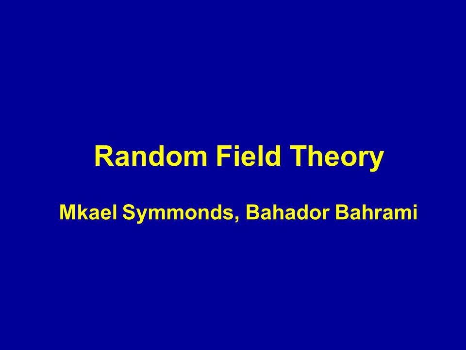 Random Field Theory Mkael Symmonds, Bahador Bahrami