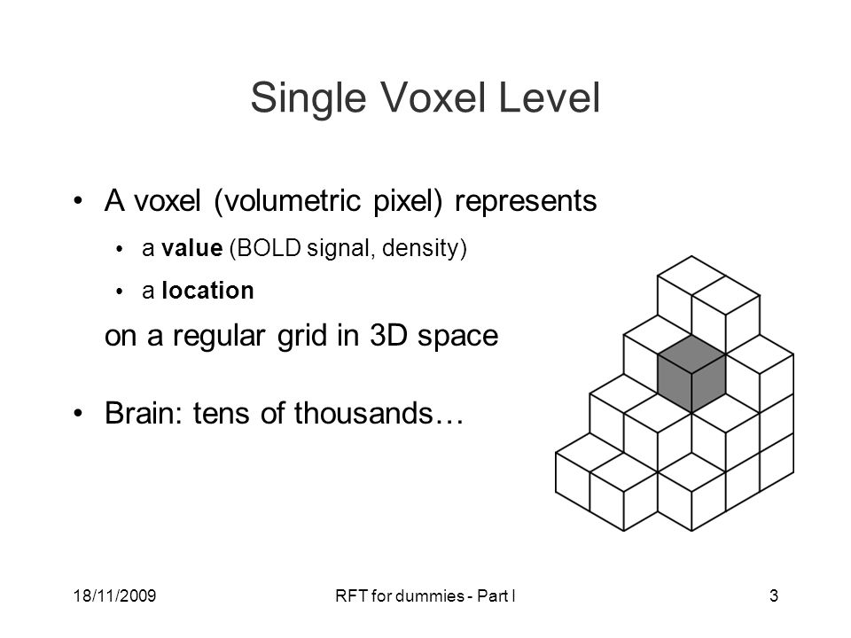 18/11/2009RFT for dummies - Part I3 Single Voxel Level A voxel (volumetric pixel) represents a value (BOLD signal, density) a location on a regular grid in 3D space Brain: tens of thousands…