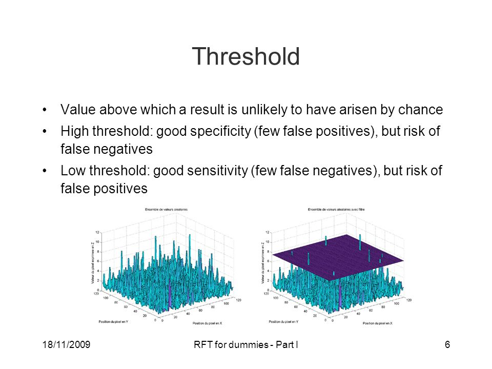 18/11/2009RFT for dummies - Part I6 Threshold Value above which a result is unlikely to have arisen by chance High threshold: good specificity (few false positives), but risk of false negatives Low threshold: good sensitivity (few false negatives), but risk of false positives