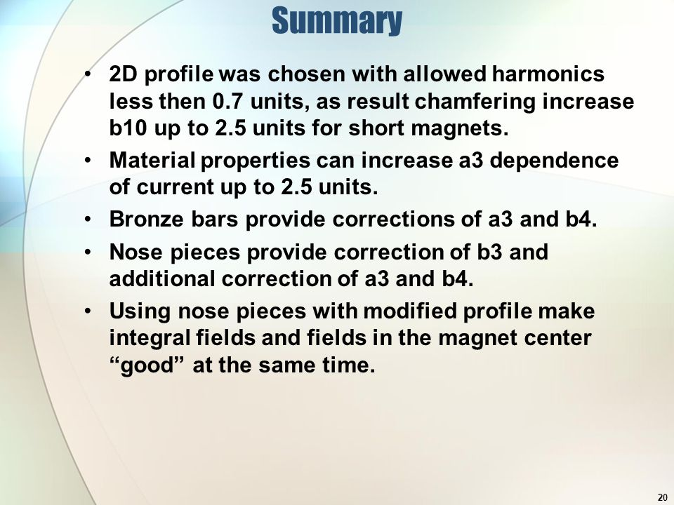Summary 2D profile was chosen with allowed harmonics less then 0.7 units, as result chamfering increase b10 up to 2.5 units for short magnets.