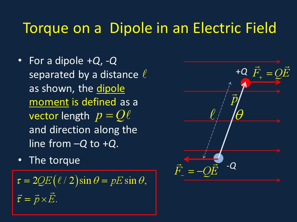 Torque on a Dipole in an Electric Field For a dipole +Q, -Q separated by a distance as shown, the dipole moment is defined as a vector length and direction along the line from –Q to +Q.