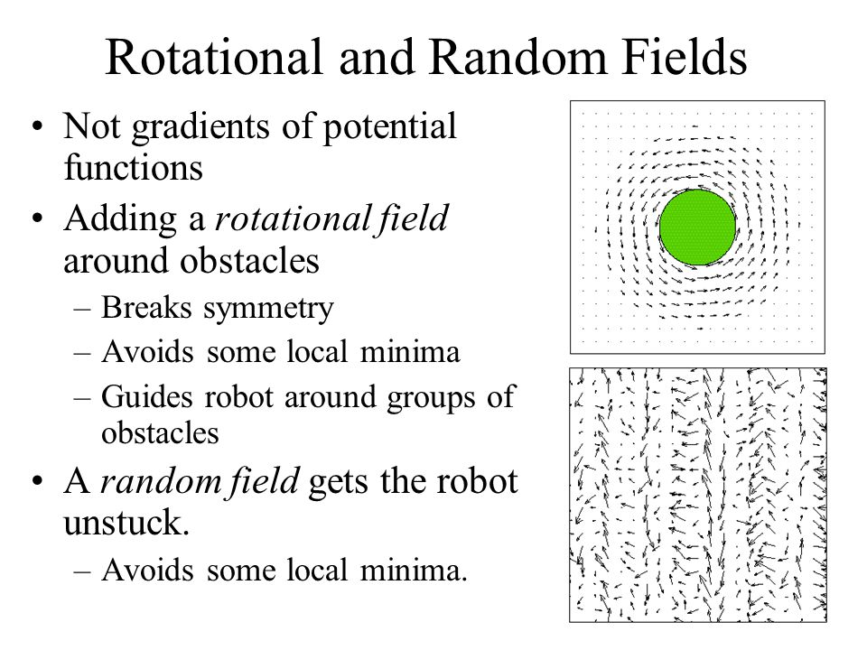 Rotational and Random Fields Not gradients of potential functions Adding a rotational field around obstacles –Breaks symmetry –Avoids some local minima –Guides robot around groups of obstacles A random field gets the robot unstuck.