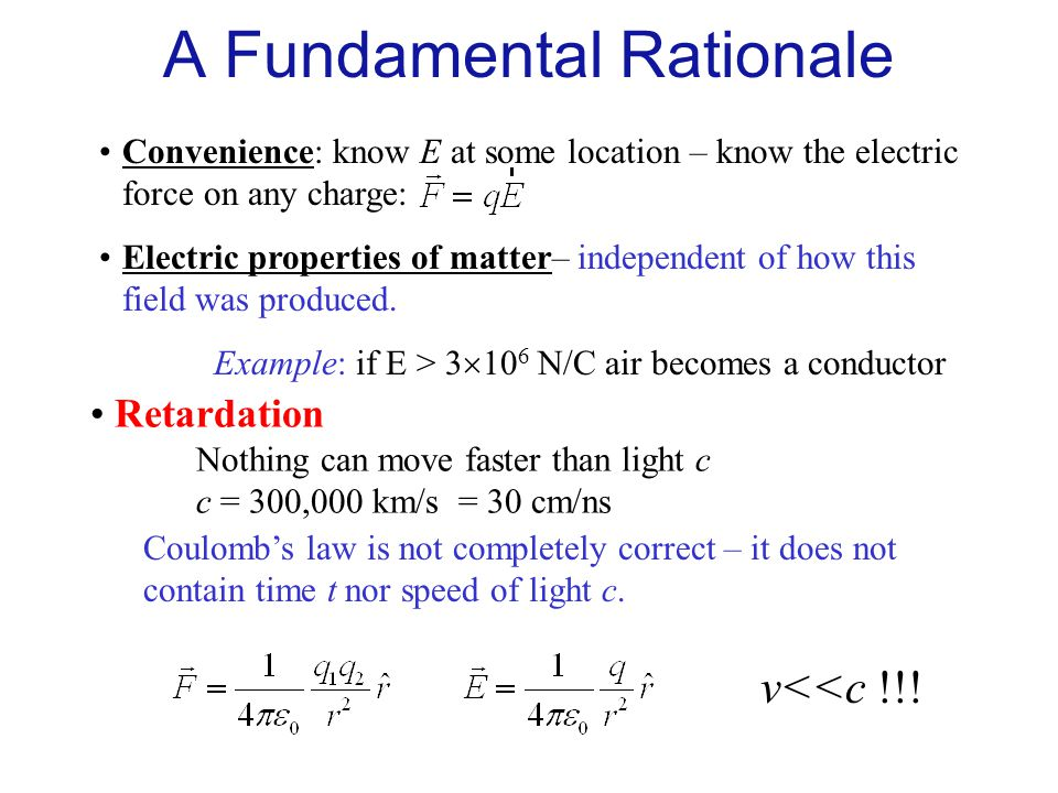 Convenience: know E at some location – know the electric force on any charge: Example: if E > 3  10 6 N/C air becomes a conductor Retardation Nothing